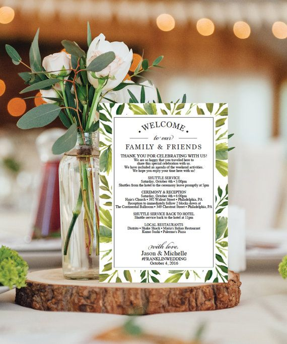 Wedding Itinerary Template - Wedding Welcome Bag Printable Itinerary ...
