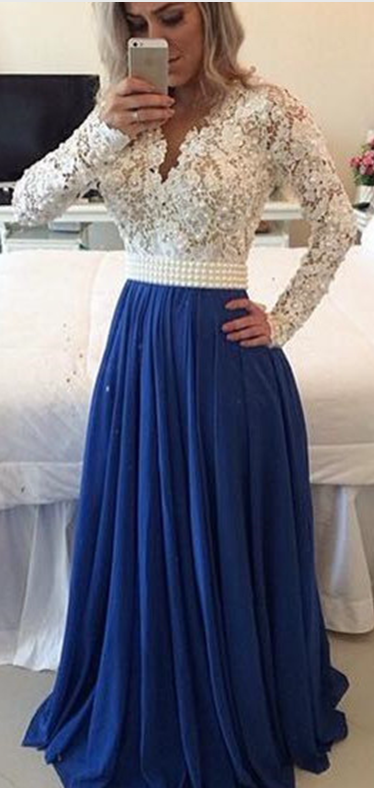 b6faec6d14b29 White Lace Royal Blue Skirt Long Prom Dresses,Long Sleeves V Neck Evening  Gowns,See Through Cheap Party Dress,Formal Women Dress ,Custom Prom Gowns,Mother  ...