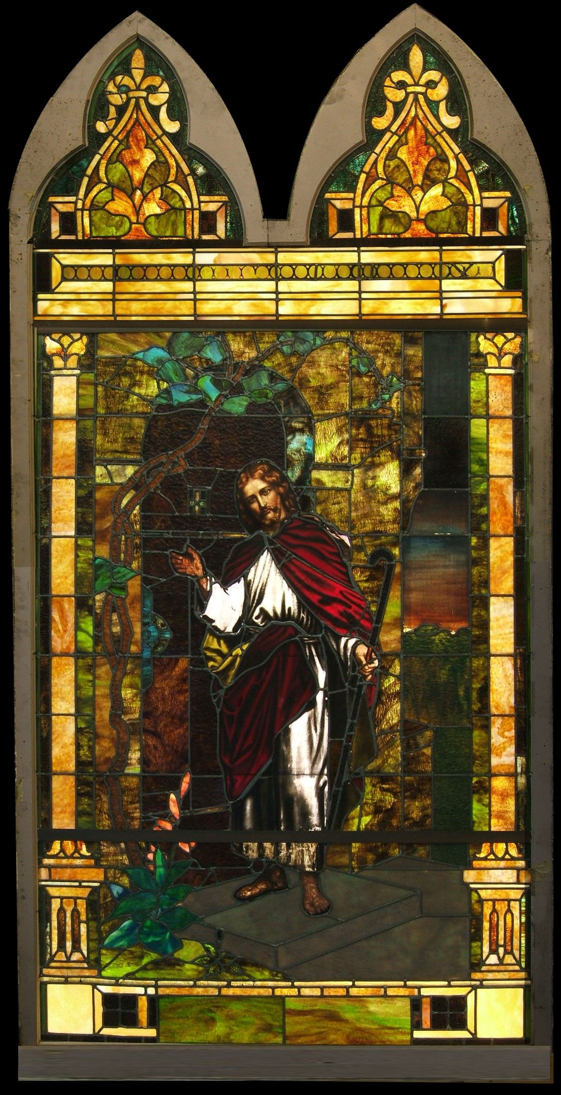 Antique ford brothers studio christ knocking on door stained glass
