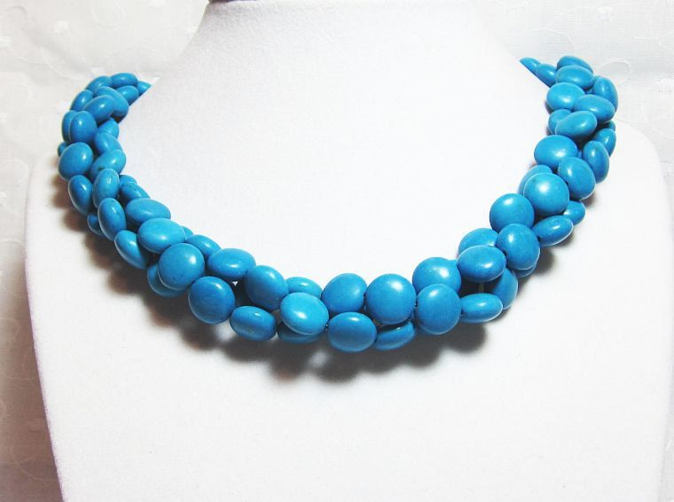Cluster Turquoise Beaded Necklace Three Strand with Antique Silver Clasp