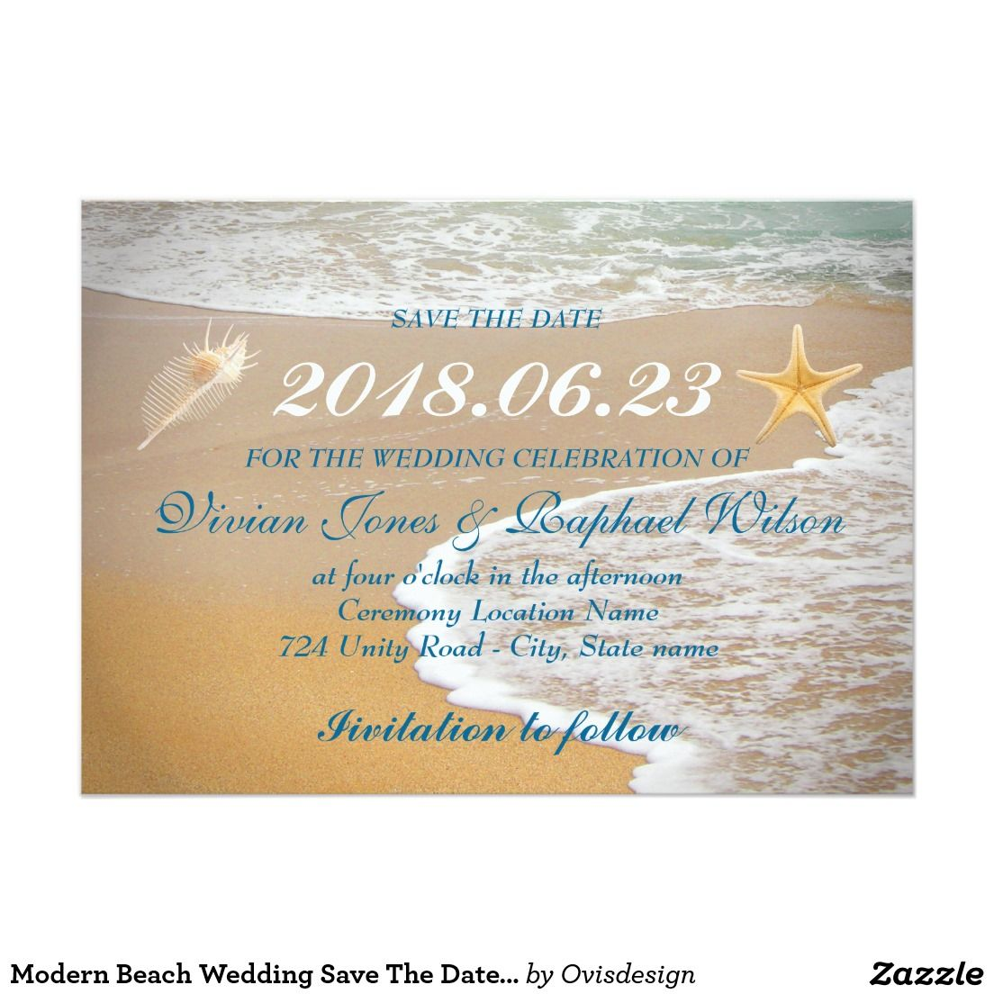 Modern Beach Wedding Save The Date Card | beach wedding | Pinterest ...