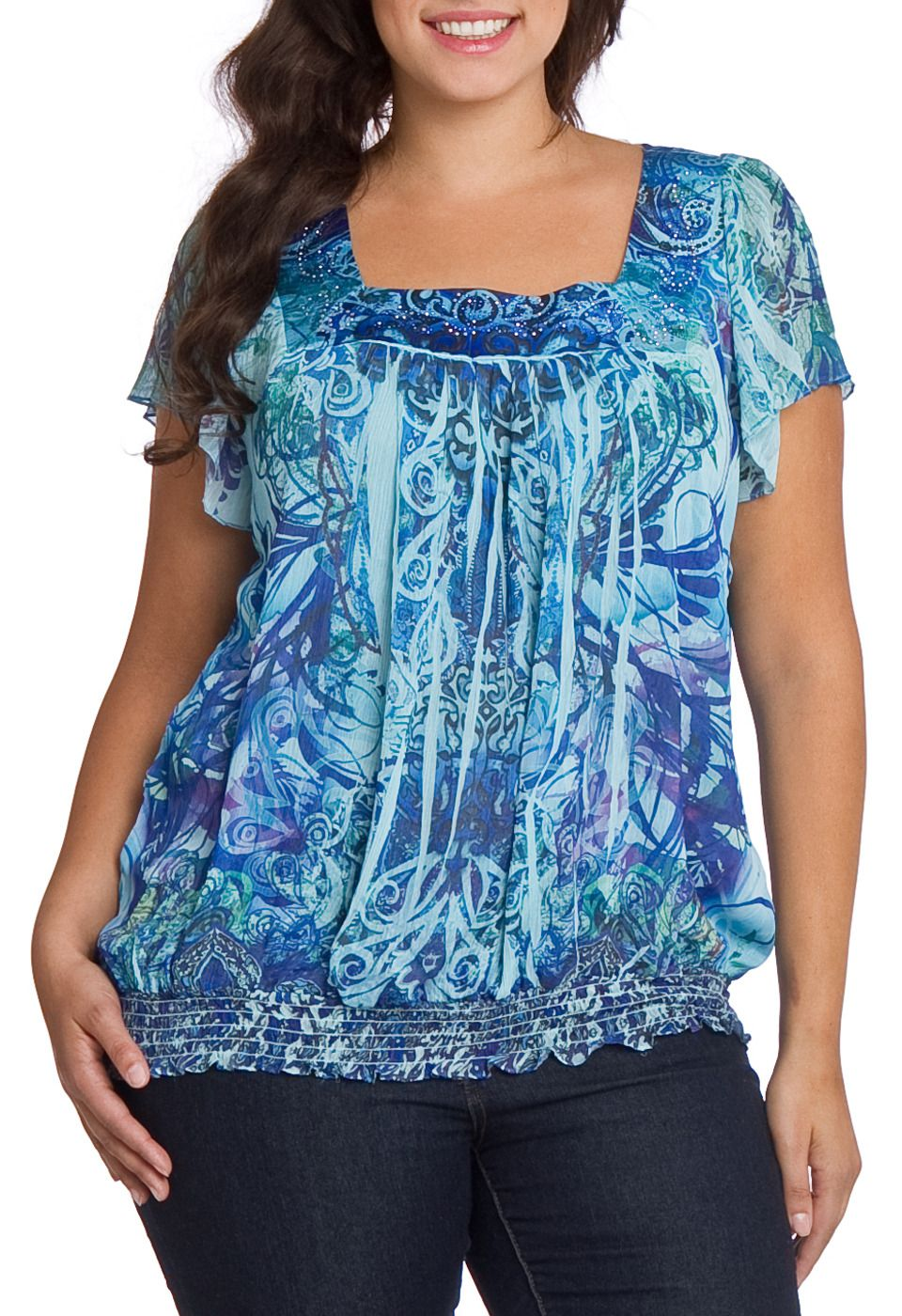 Oneworld apparel jessica top in teal beyond the rack my style