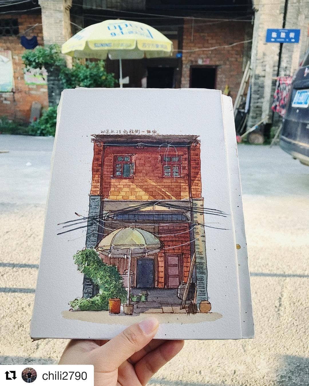 """Urban Sketchers on Instagram: """"#Repost @chili2790 (@get_repost) ・・・ 天气好了,终于可以出来写生了。#sketching #sketch #sketches #watercolorpainting #watercolor #watercolor_art…"""" - #achili2790 #instagram #repost #sketchers #sketching #urban - #GestureDrawing"""