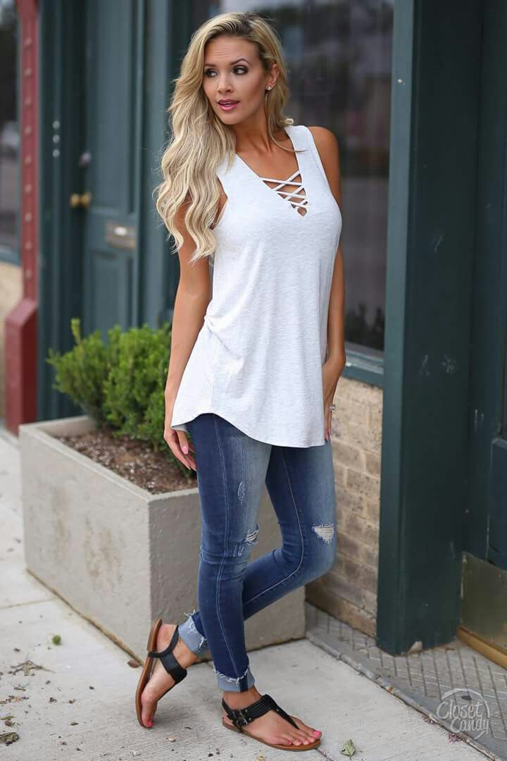 26215a4a Solid, thick strap tank, criss cross v-neck cuffed jeans flat ...