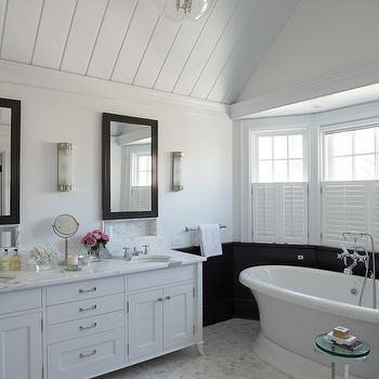 White Vanity With Black Mirror Bathroom Design Elegant Bathroom Traditional Bathroom