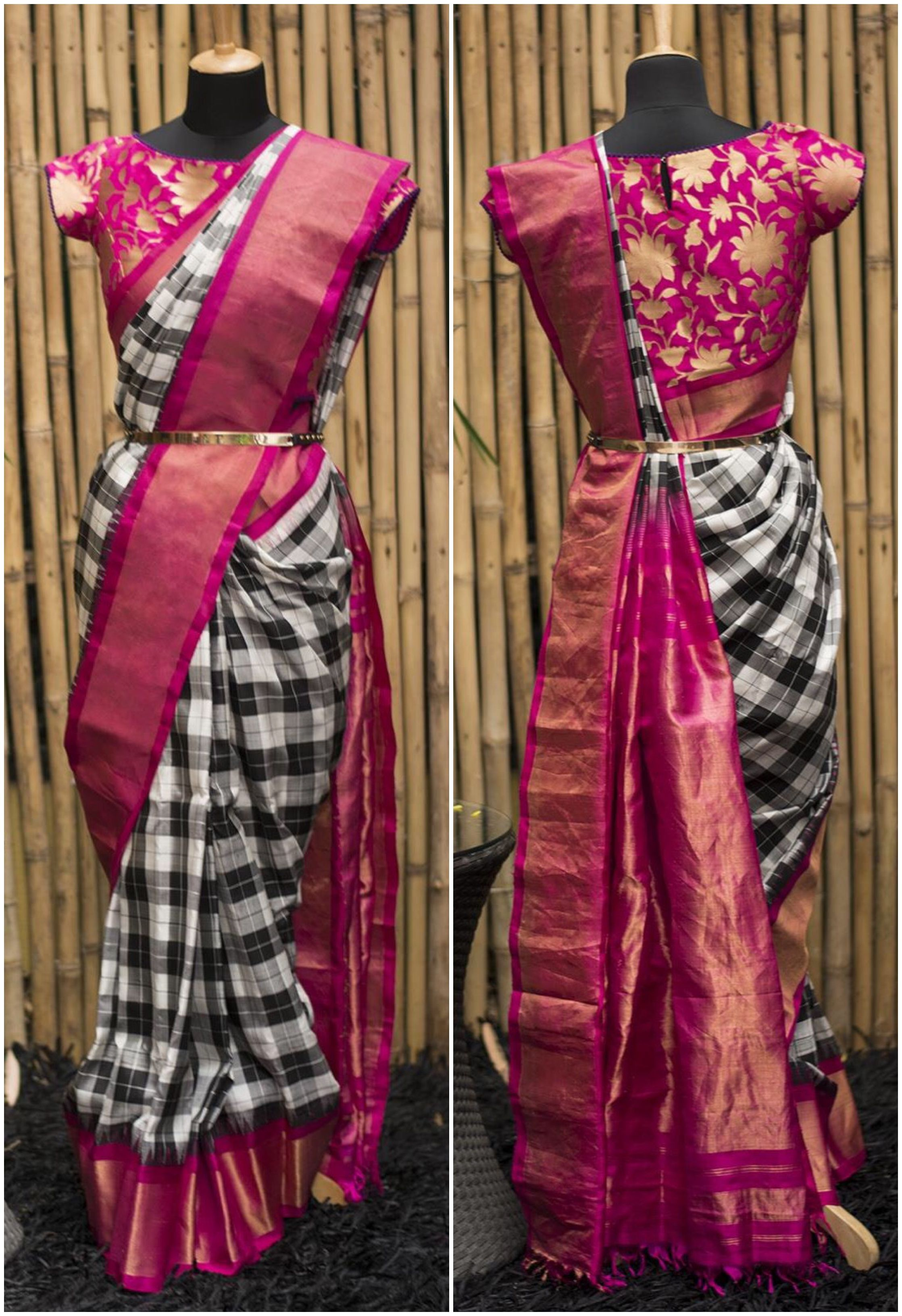d1550f9d568c9 Black white checked Gadwal pure silk saree with pink border