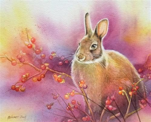 """Daily Paintworks - """"Bunny's Bittersweet"""" - by artist, Jean Weiner (SOLD):  This original watercolor features a cottontail rabbit sitting in a patch of wild bittersweet.  The lavendar and yellow color compliments and give an artistic approach to providing the supporting background."""