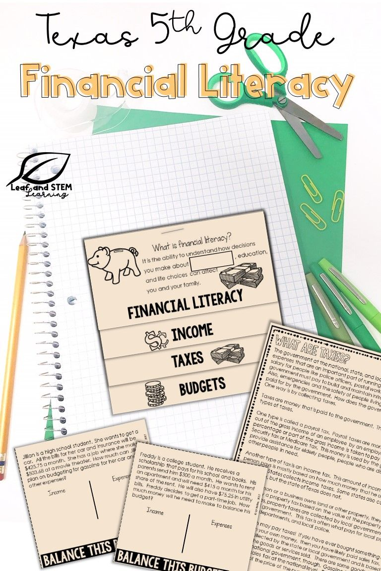5th Grade Financial Literacy Interactive Notebook Set Distance Learning Financial Literacy Personal Financial Literacy Literacy [ 1152 x 768 Pixel ]