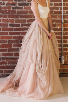 Blush Draped Linen Ballgown Skirt Separate Say Yes To The Dress