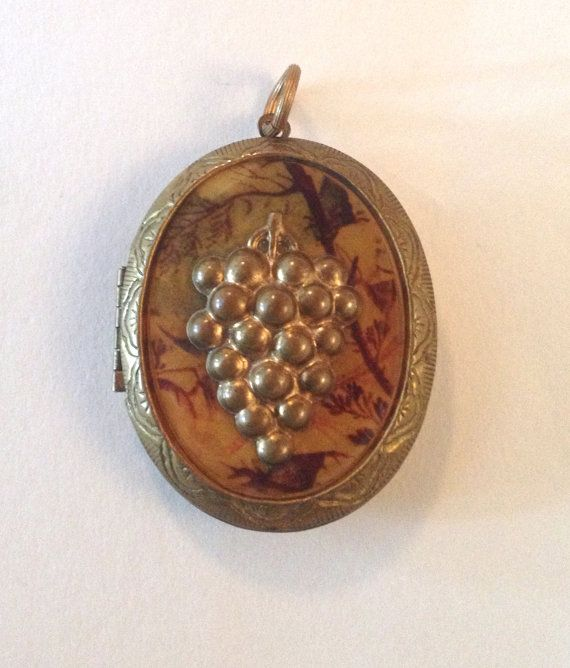 Vintage Brass Locket with Grape Motif by WhirleyShirley on Etsy