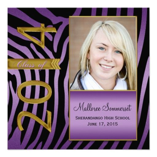 Purple Gold Black Zebra 2014 Graduation Personalized Announcement