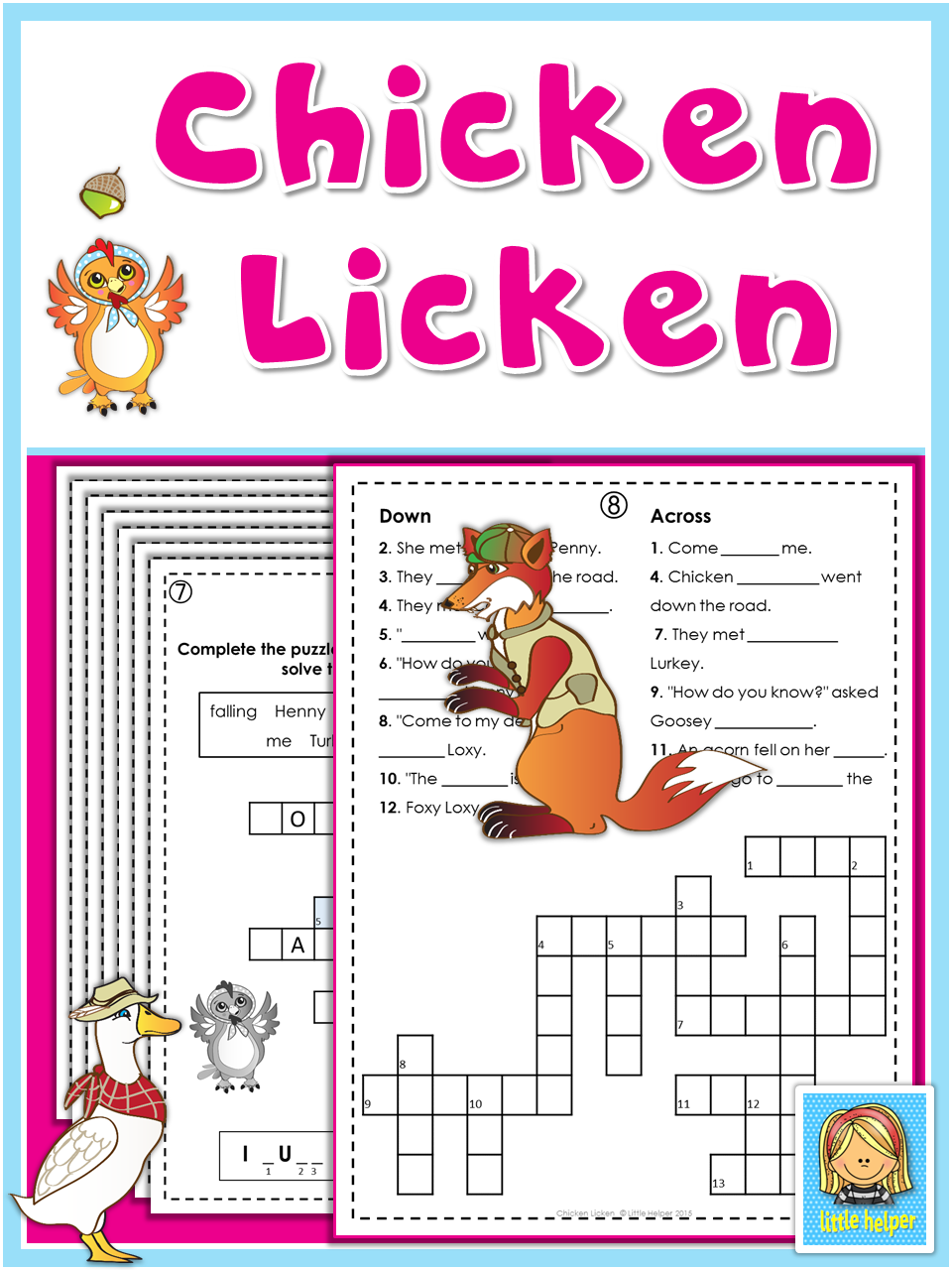 small resolution of This set of fun and engaging puzzles and worksheets go along with the story  of Chicken Licken or Henny…   Learning printables