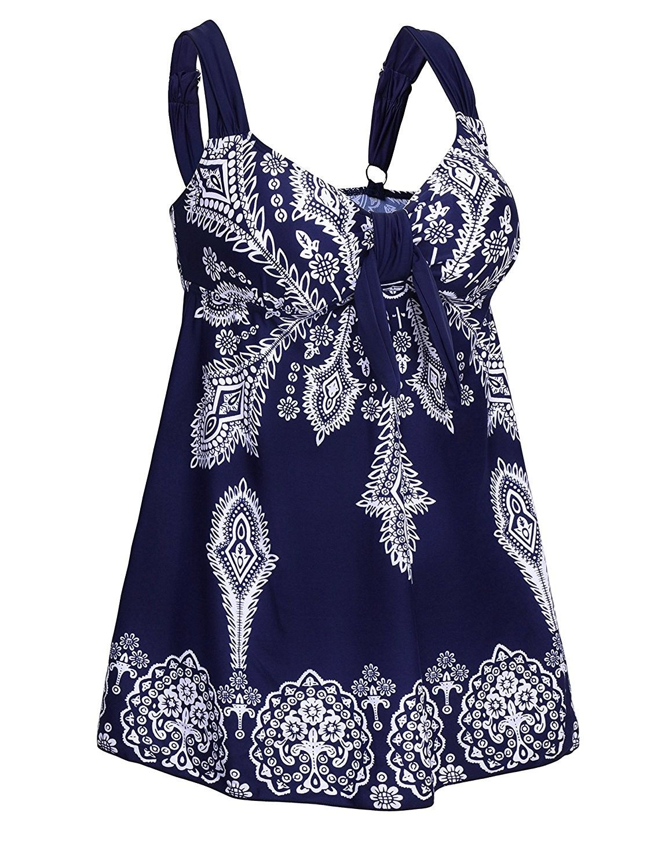 a6715cbf563fe Women's Clothing, Swimsuits & Cover Ups, Tankinis, Women's Plus-Size  Swimsuit Retro Print Two Piece Pin up Tankini Swimwear - Navy - CB12IDG5VTJ  #Fashion ...