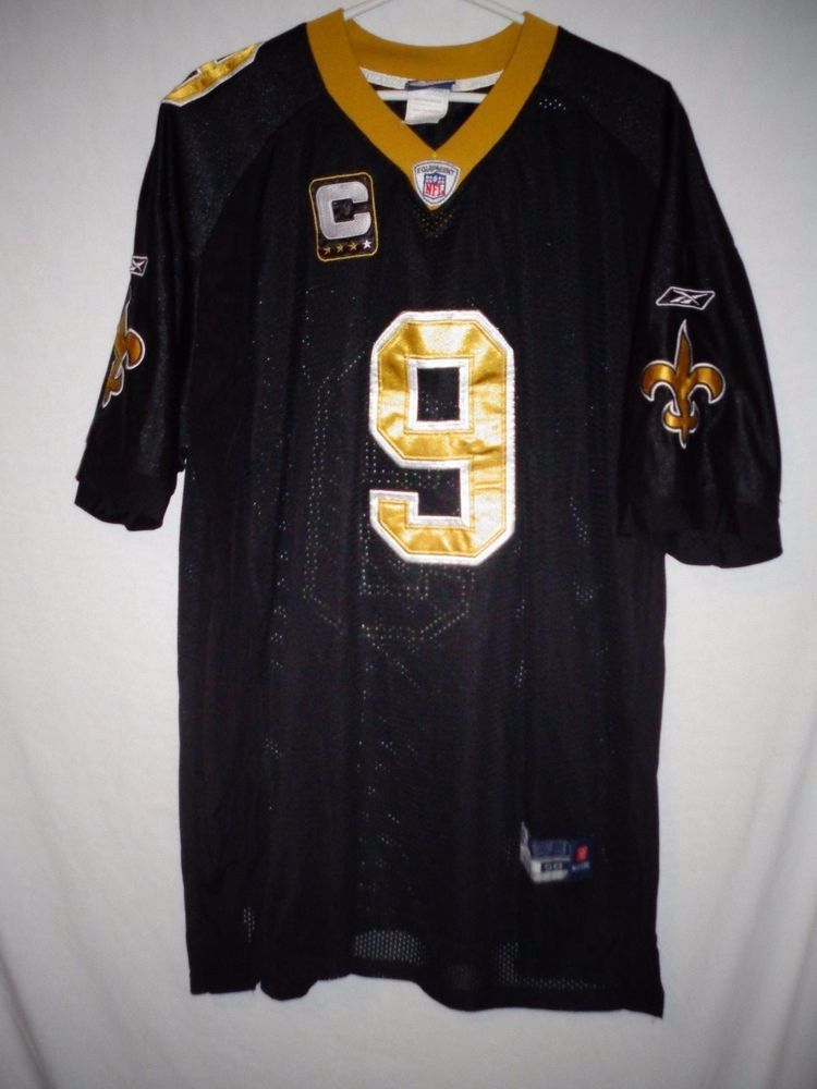 Nfl jerseys · Drew Brees men's sz 56 New Orleans Saints black jersey Reebok  sewn captain patch #Reebok