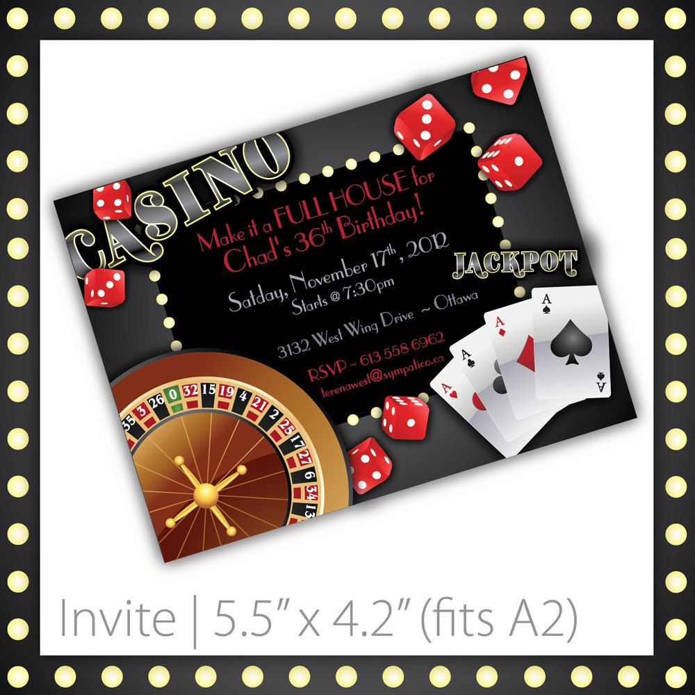 casino party invitations   printable   by