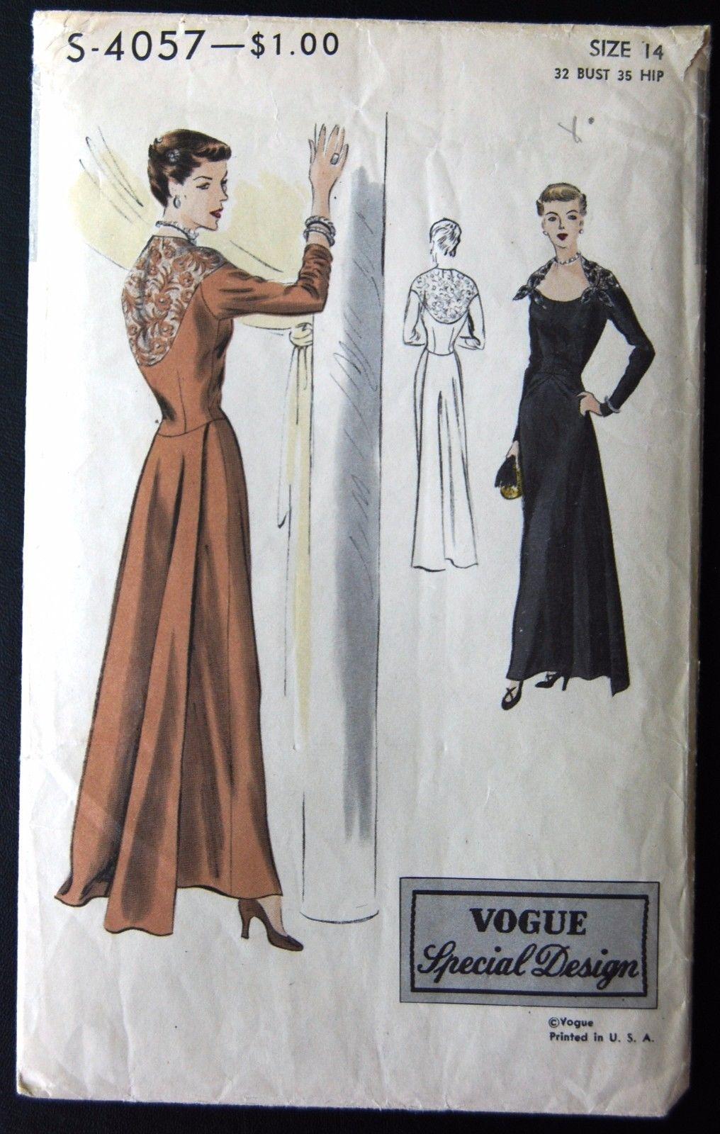 Vintage Original Vogue Special Design 40 S Evening Dress Pattern No S 4057 Vintage Clothes Patterns Retro Fashion Vintage Vintage Vogue Patterns