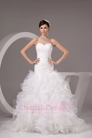 Cascading Ruffles Wedding Dress Mermaid Ball Gown Cherishdress ...