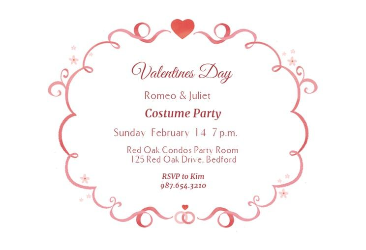 Curly Q S Free Printable Valentine S Day Invitation Template