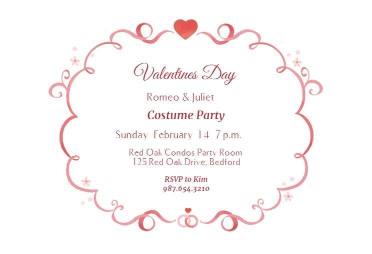Curly Q S Valentine S Day Invitation Template Free Greetings Island Free Printable Wedding Invitations Free Printable Wedding Invitation Templates Dinner Invitation Template