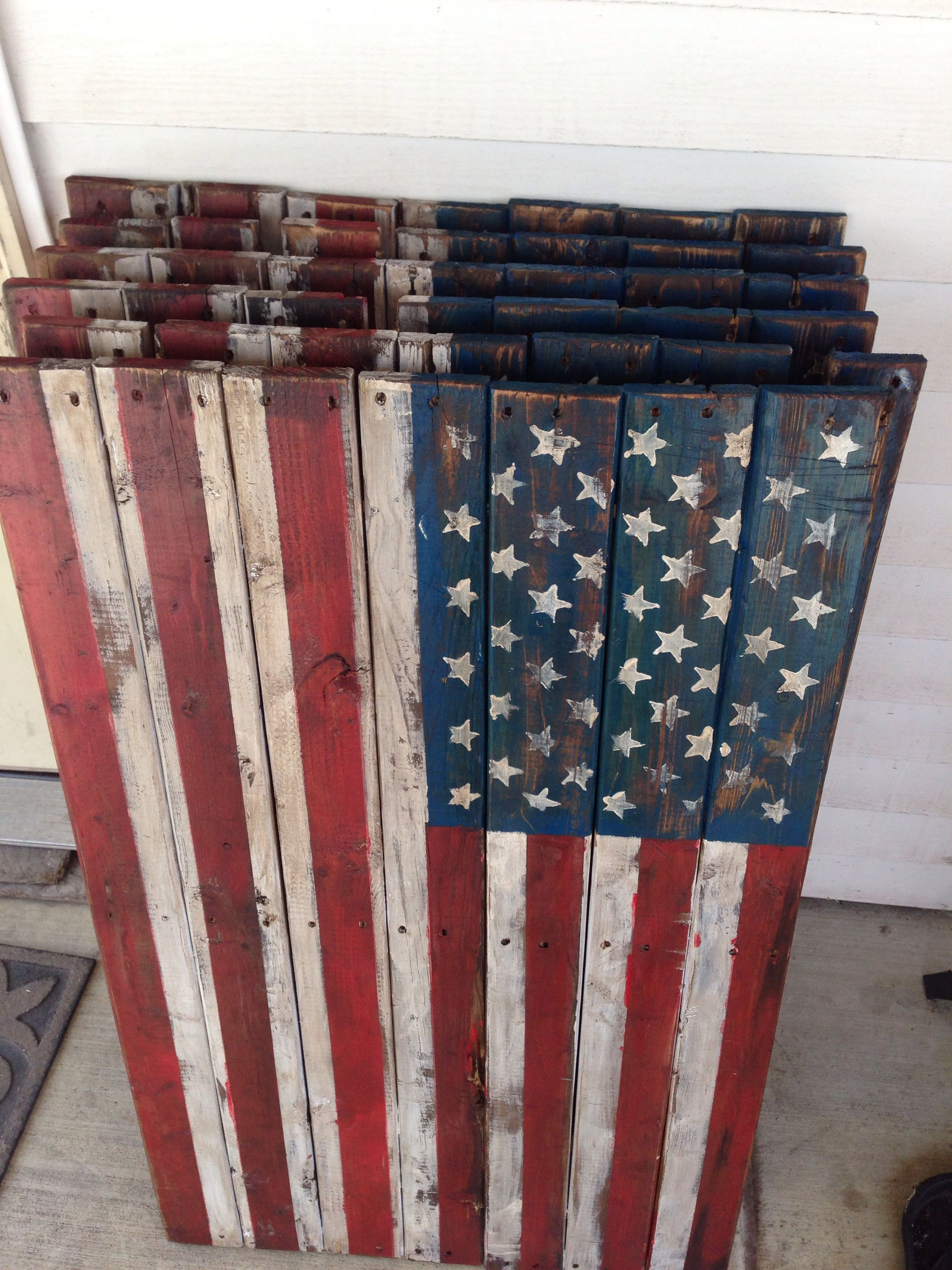 d0be2effa073 Primitive rustic americana wooden pallet flags.