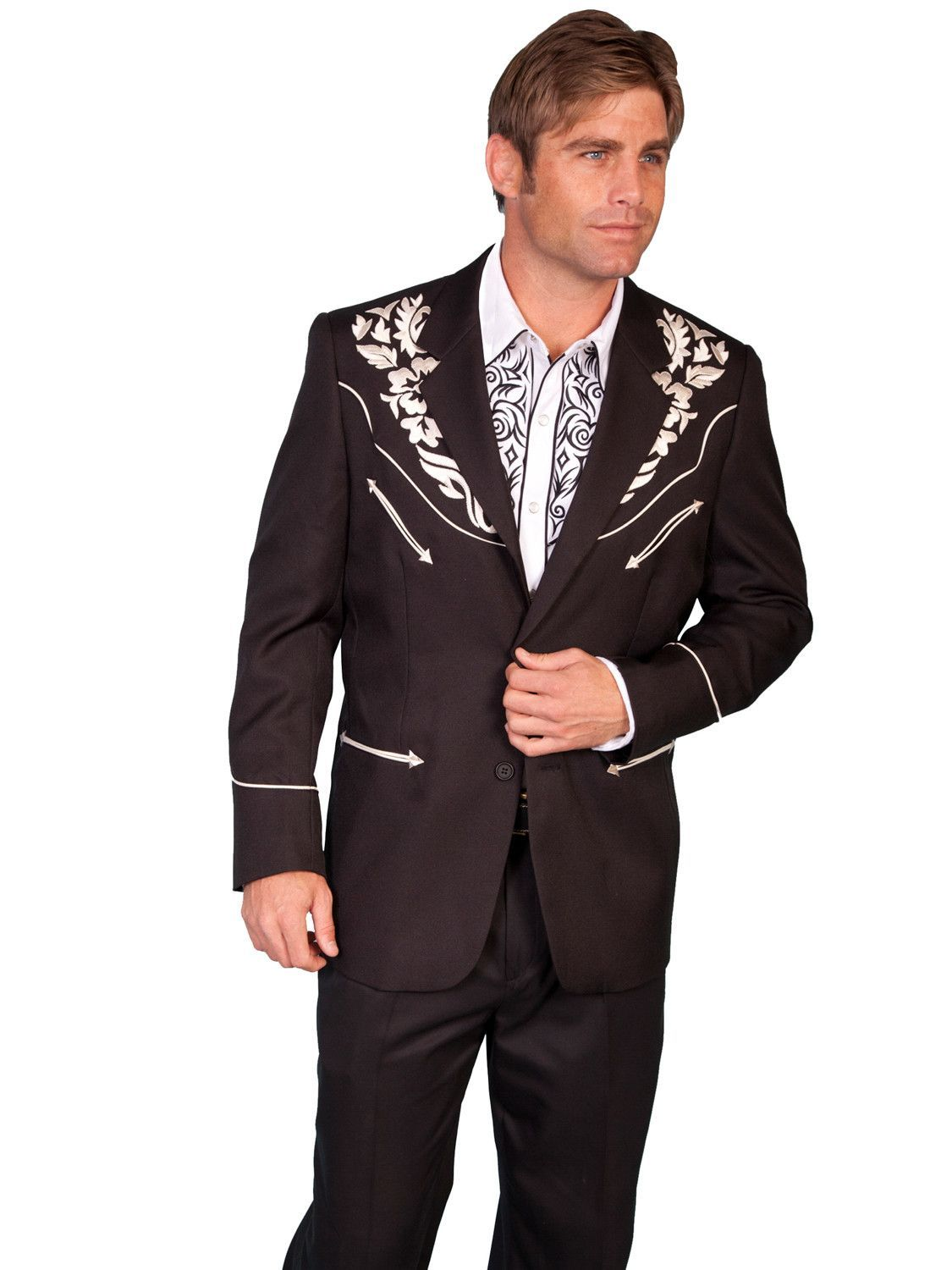 Scully Western Mens Silver Polyester Floral Tone