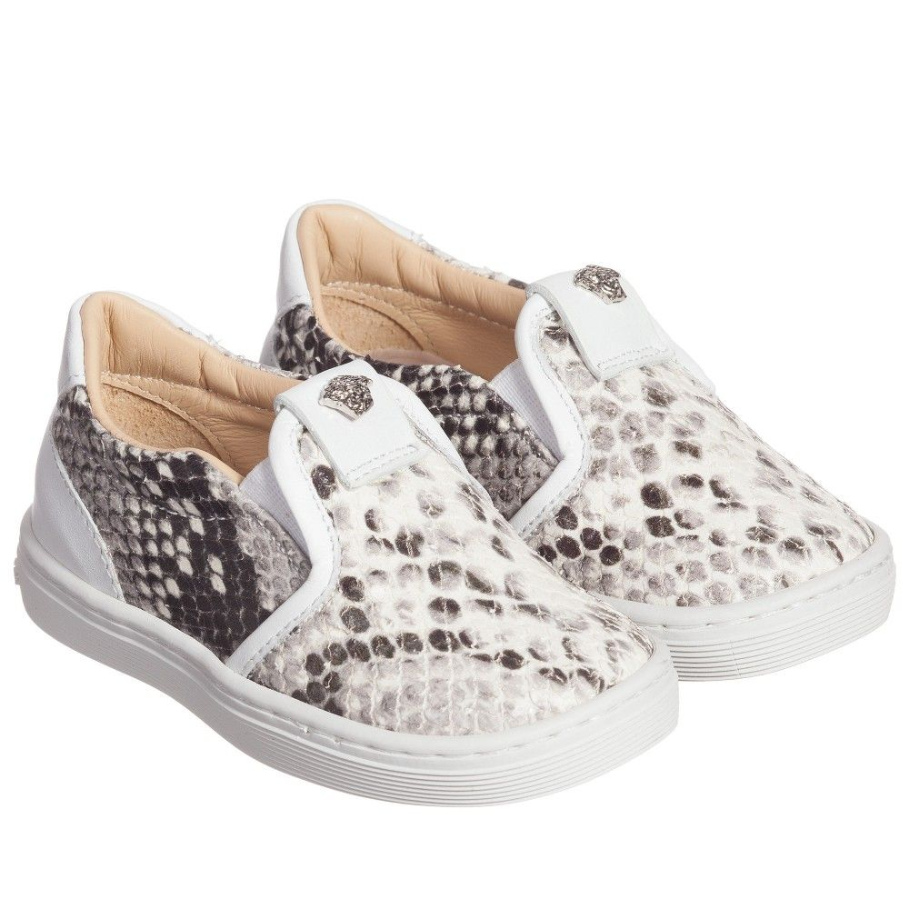 Young Versace White Leather 'Python' Shoes at ...