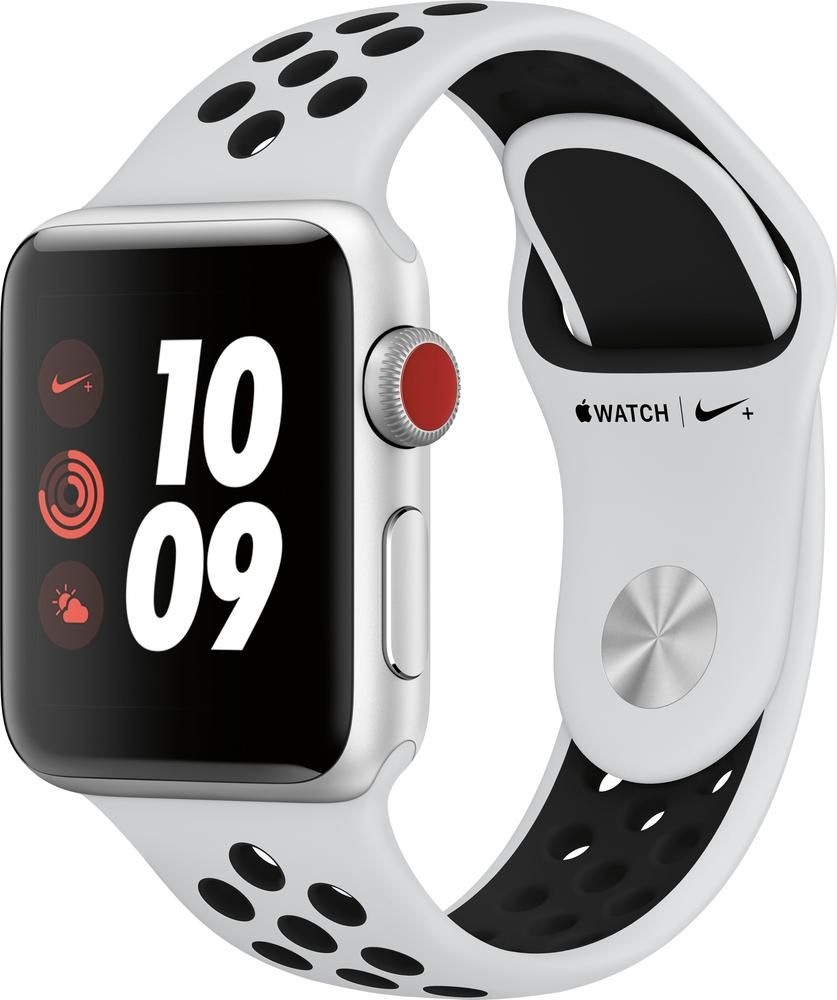 wholesale dealer a8469 81a58 Apple - Apple Watch Nike+ Series 3 (GPS + Cellular) 38mm Silver ...