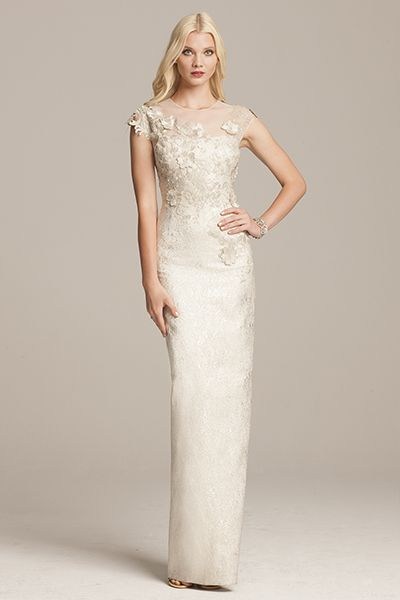 Jacquard and Lace Cap Sleeve Gown | Teri Jon | Mother of the Bride ...