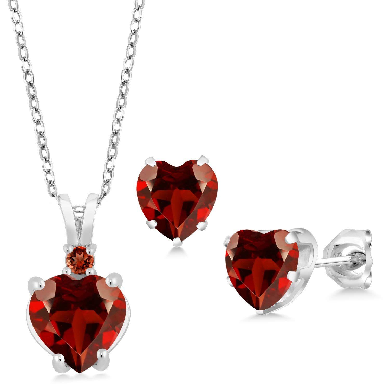 3.69 Ct Heart Shape Red Garnet 925 Sterling Silver Pendant Earrings Set