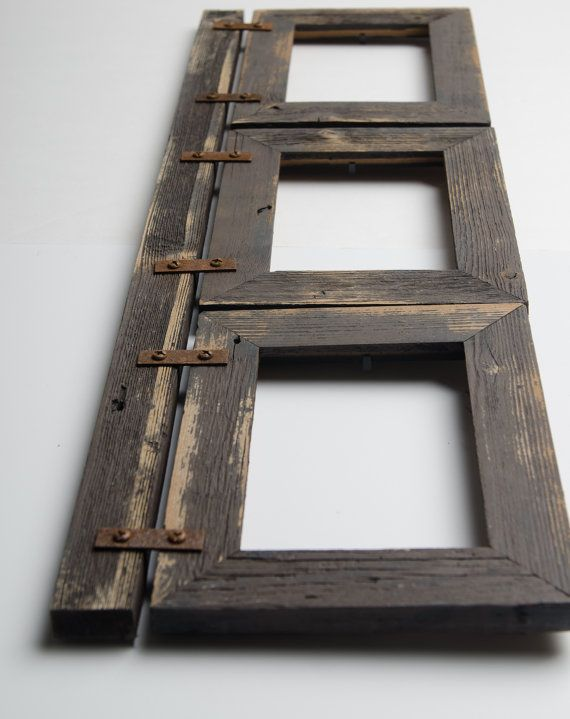 Fun For Any Room In Your Home Is This Beautiful Rustic Collage Frame It Is Made From 3 5x7 1 5 B Barn Wood Frames Diy Picture Frames Rustic Picture Frames