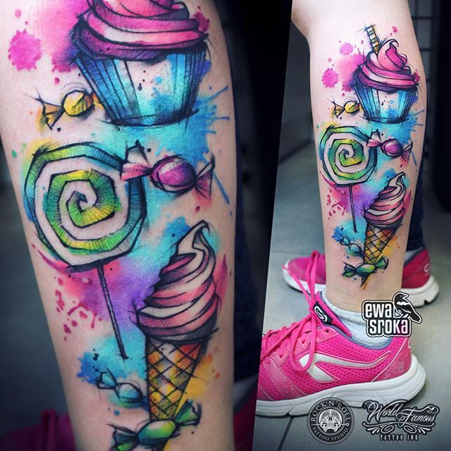 Sweetness Overload Ewasroka Candytattoo Lollypop Lollypoptattoo Icecreamtattoo Cupcaketattoo Sweets Sweetstat Cupcake Tattoos Candy Tattoo Tattoos