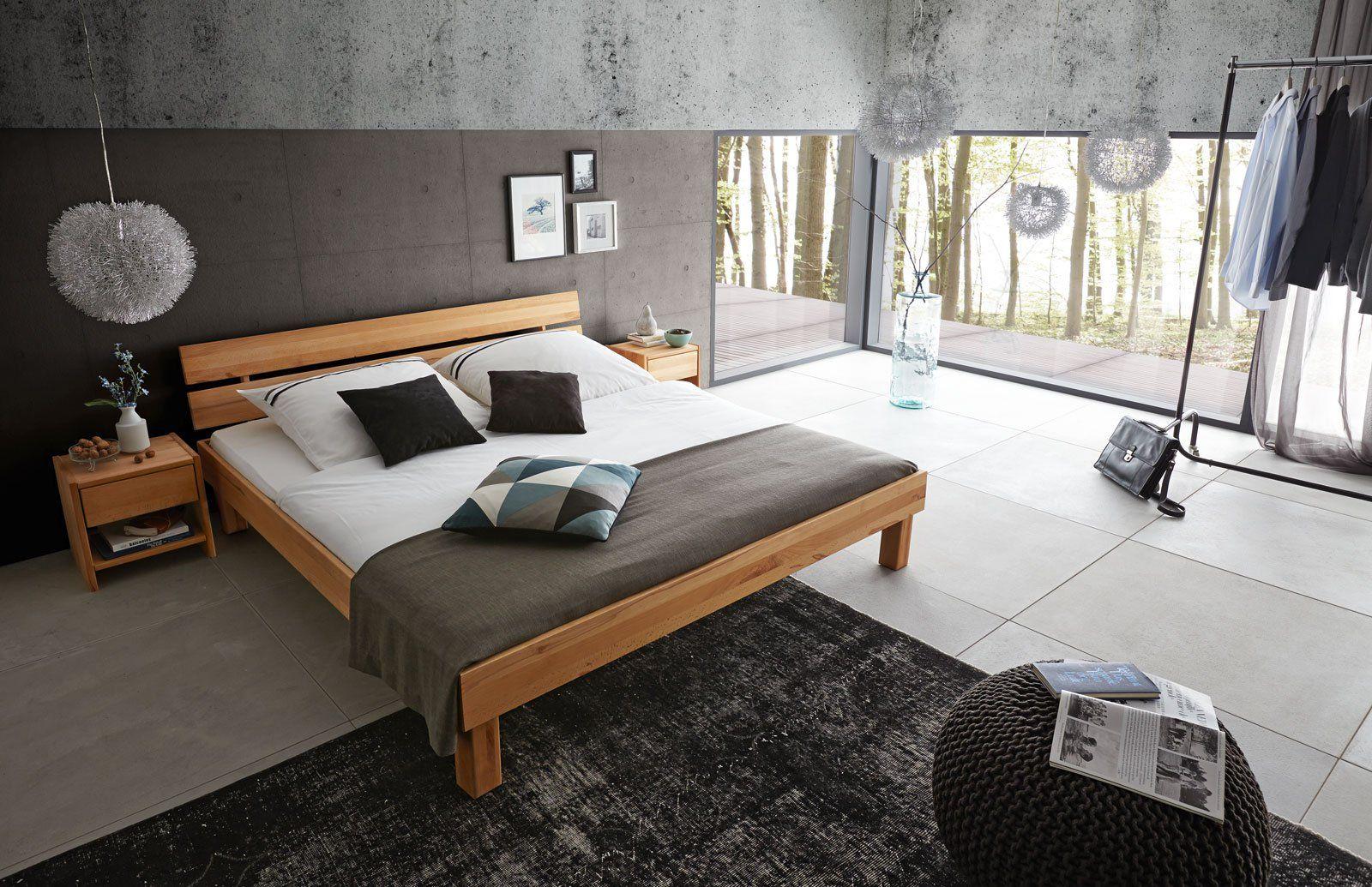 SAM® Massivholzbett 160x200 cm Kernbuche Holzbett massiv