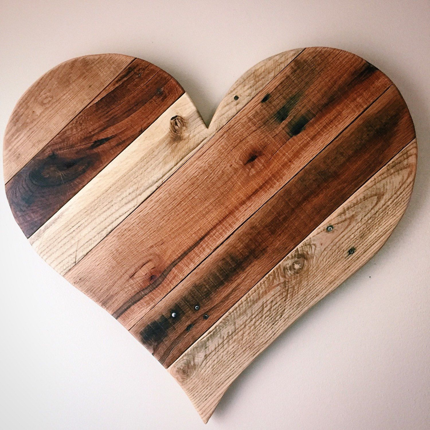 """Rustic Reclaimed 27"""" Large pallet wood Heart - wall ..."""