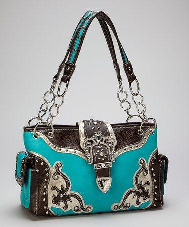 Turquoise Rhinestone Crown Buckle Western Shoulder Bag by Rhinestone Junkie on zulily