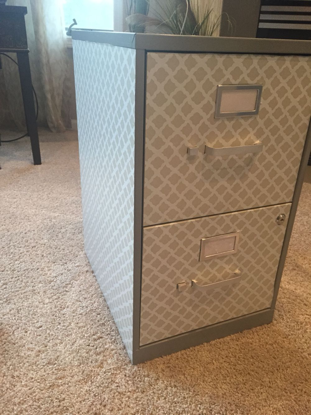 Covered A Basic Filing Cabinet With Contact Paper So Chic Filing Cabinet File Cabinet Makeover Office Makeover