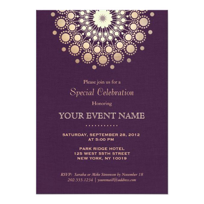 Elegant Gold Circle Motif Purple Linen Look Formal Card Formal - formal invitation templates
