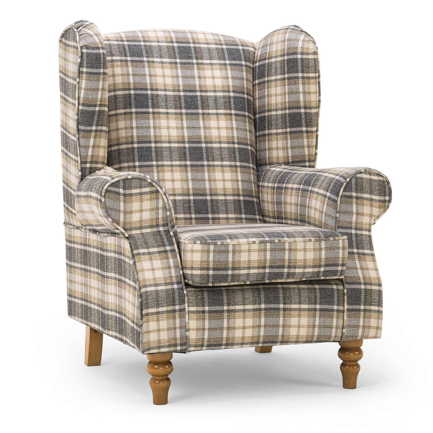 Small Bedroom//Childrens Queen Anne Armchair in Blue Check Alderney Tartan Fabric