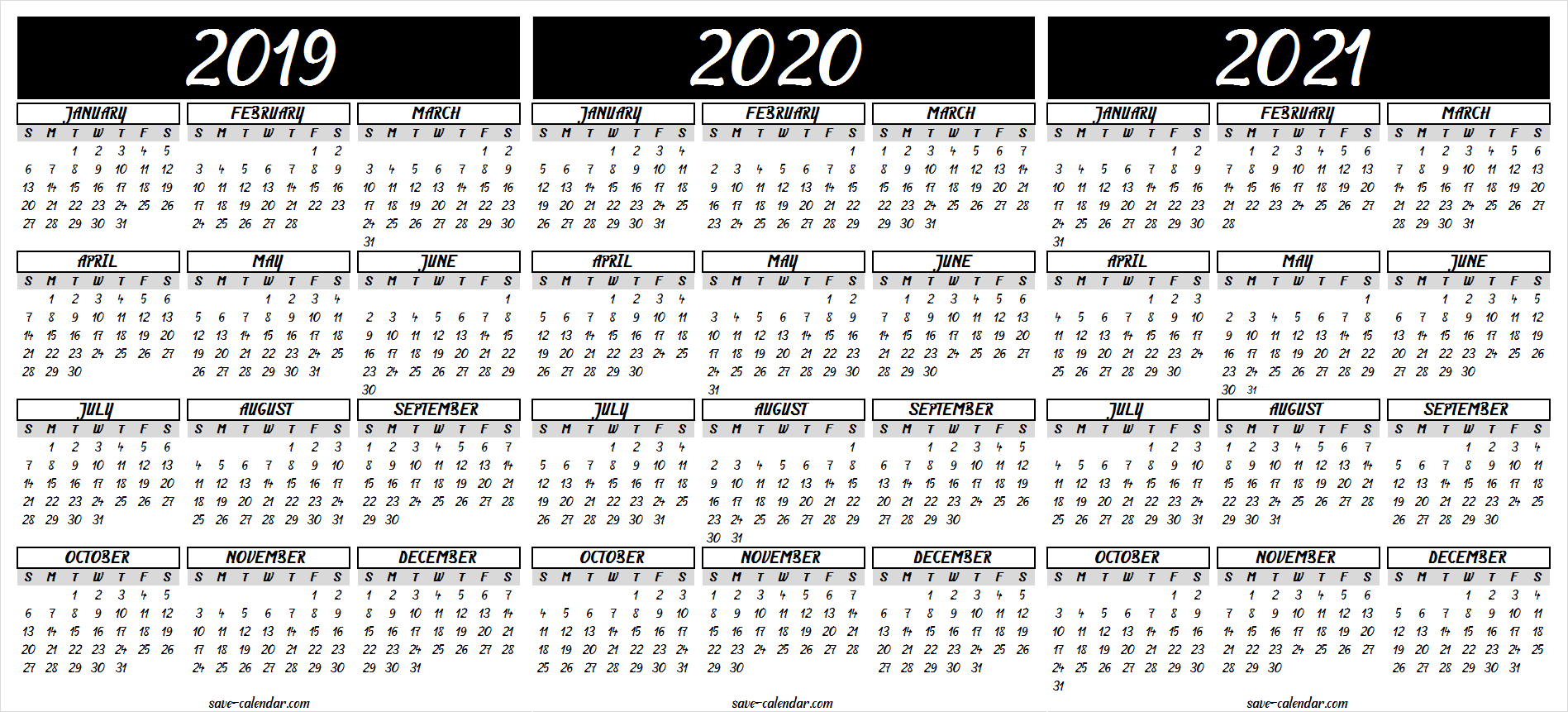 image about 2021 Calendar Printable known as 2019 2020 2021 Calendar Printable 2018 Calendar 2021