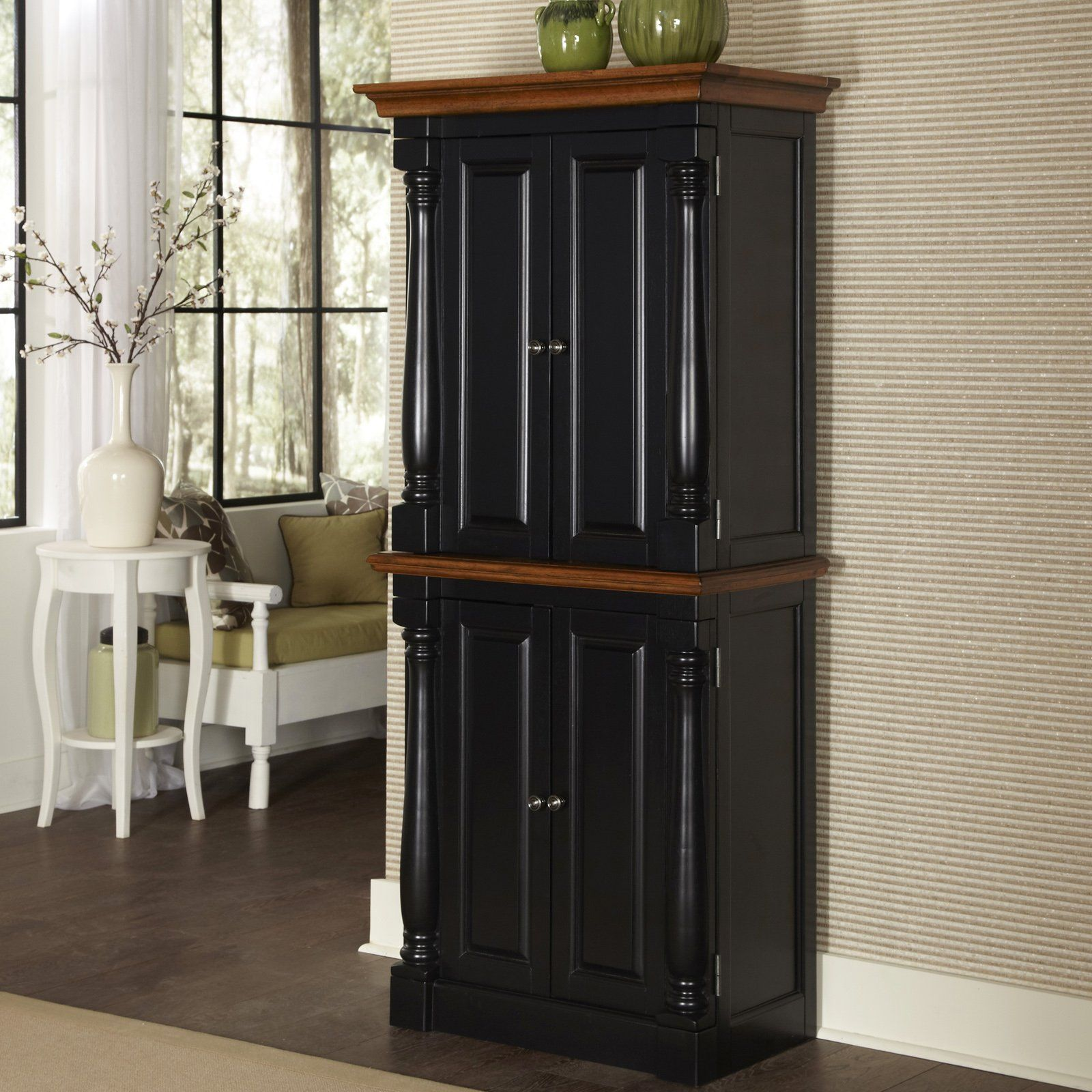 Have To Have It Home Styles Monarch Black Amp Oak Kitchen Pantry 638 98 Stand Alone Kitchen Pantry Pantry Cabinet Free Standing Wood Pantry Cabinet