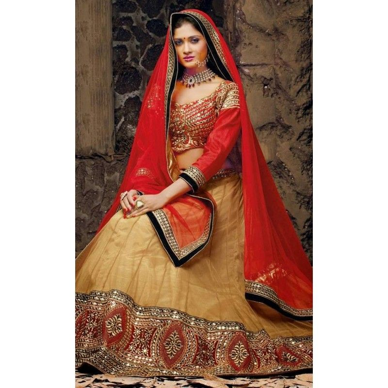 Bollywood Replica-Designer Bridal Beige & Red Net Beautiful Lehenga Choli-9303( SIA-9200 )
