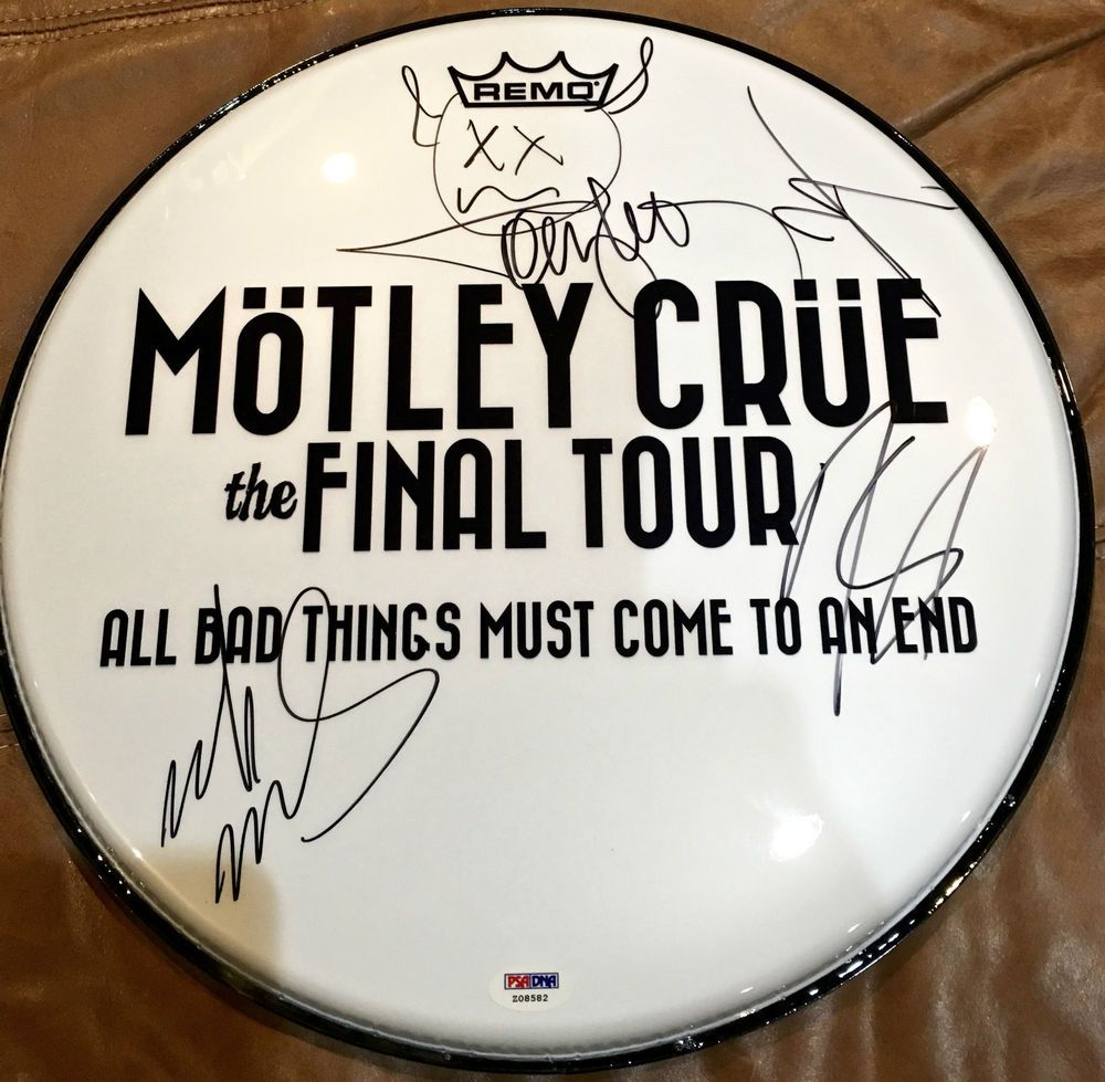 Motley Crue Signed Autographed 2015 Final Tour Drumhead By All 4 Rare Psa Dna
