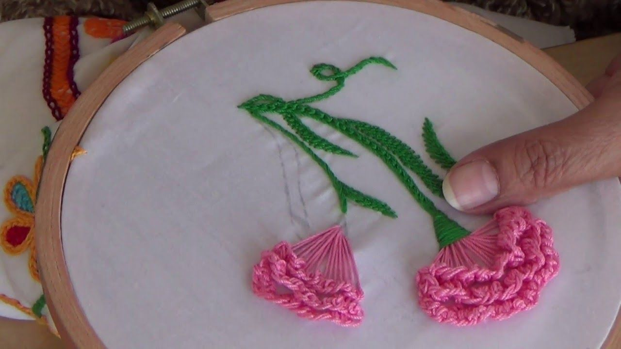 Hand Embroidery Hand Embroidery Carnation Flower Brazilian Embroidery Hand Embroidery Flowers Embroidery Designs
