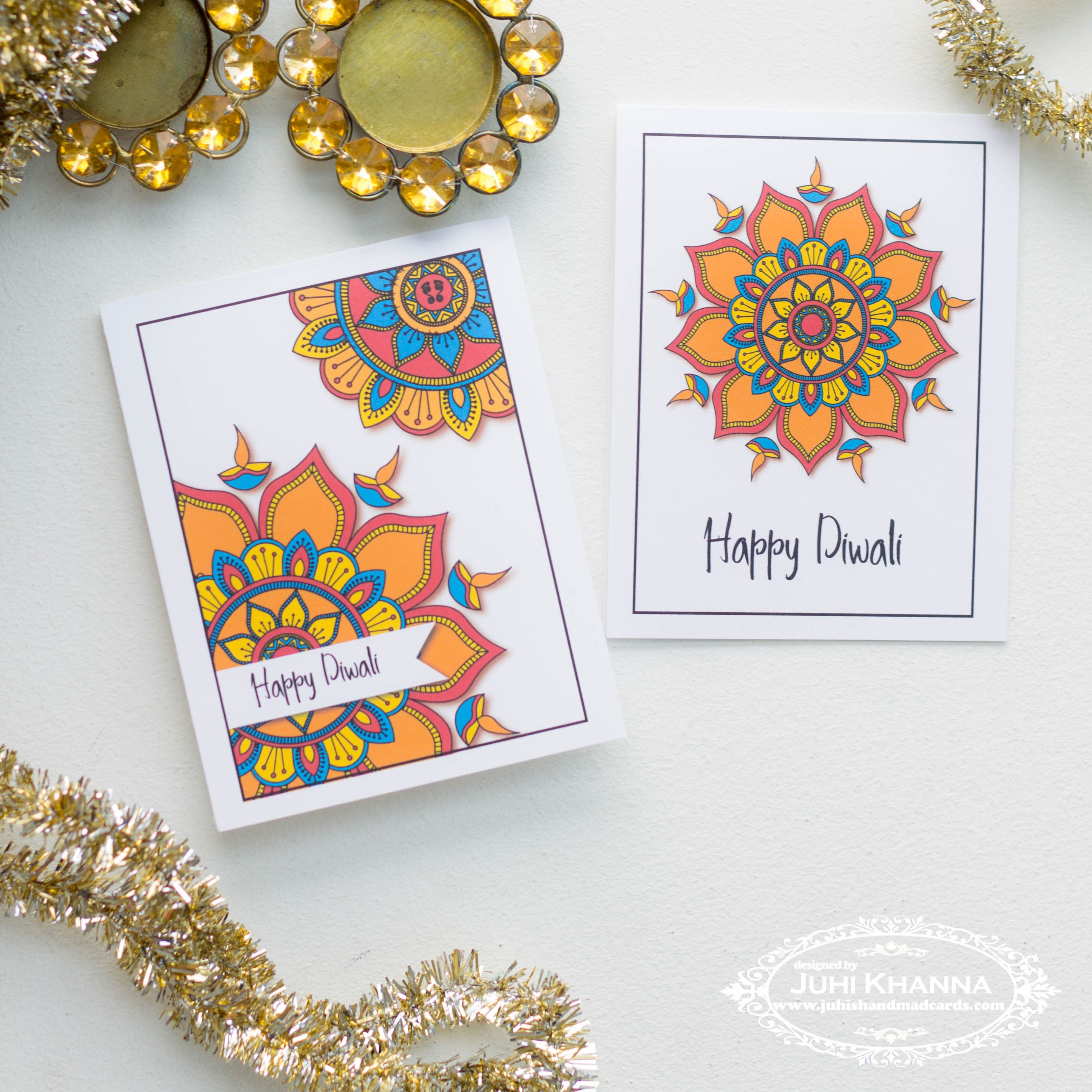 Printable Diwali Cards Instant Download 4 Patterns The One