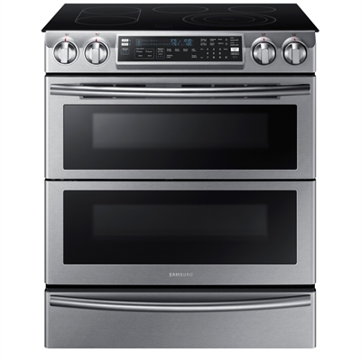 Samsung 30 In Smooth Surface 5 Element Slide Convection Electric Range Downdraft Exhaust Stainless Steel