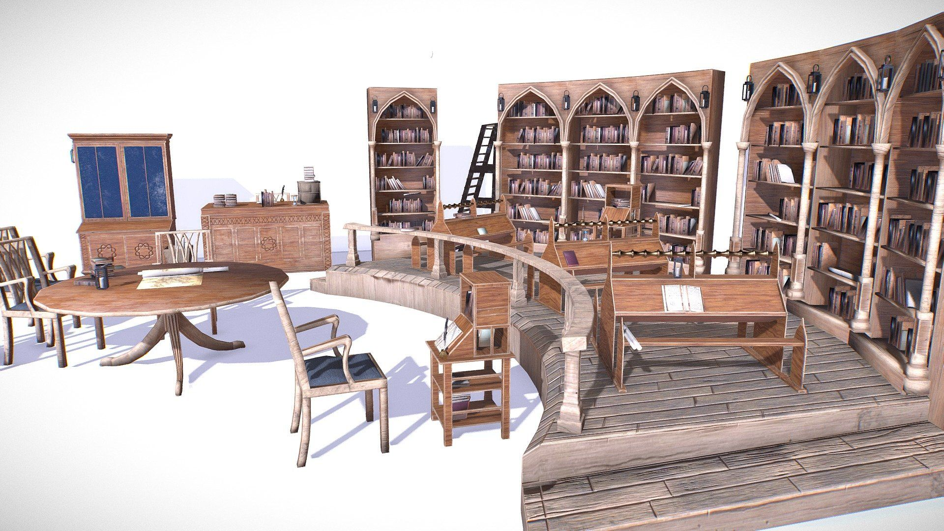 Medieval Library Model Pack low-poly 3D Model by insya | Unreal