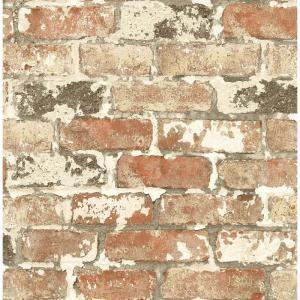 Nextwall Distressed Red Brick Peel And Stick Wallpaper Nw31700 The Home Depot Brick Depot Distressed Brick Wallpaper Brick Wallpaper Roll Faux Brick Walls