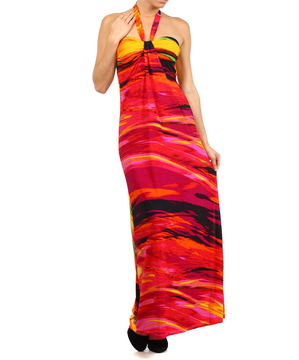 Look at this hot pink painterly halter maxi dress on zulily today