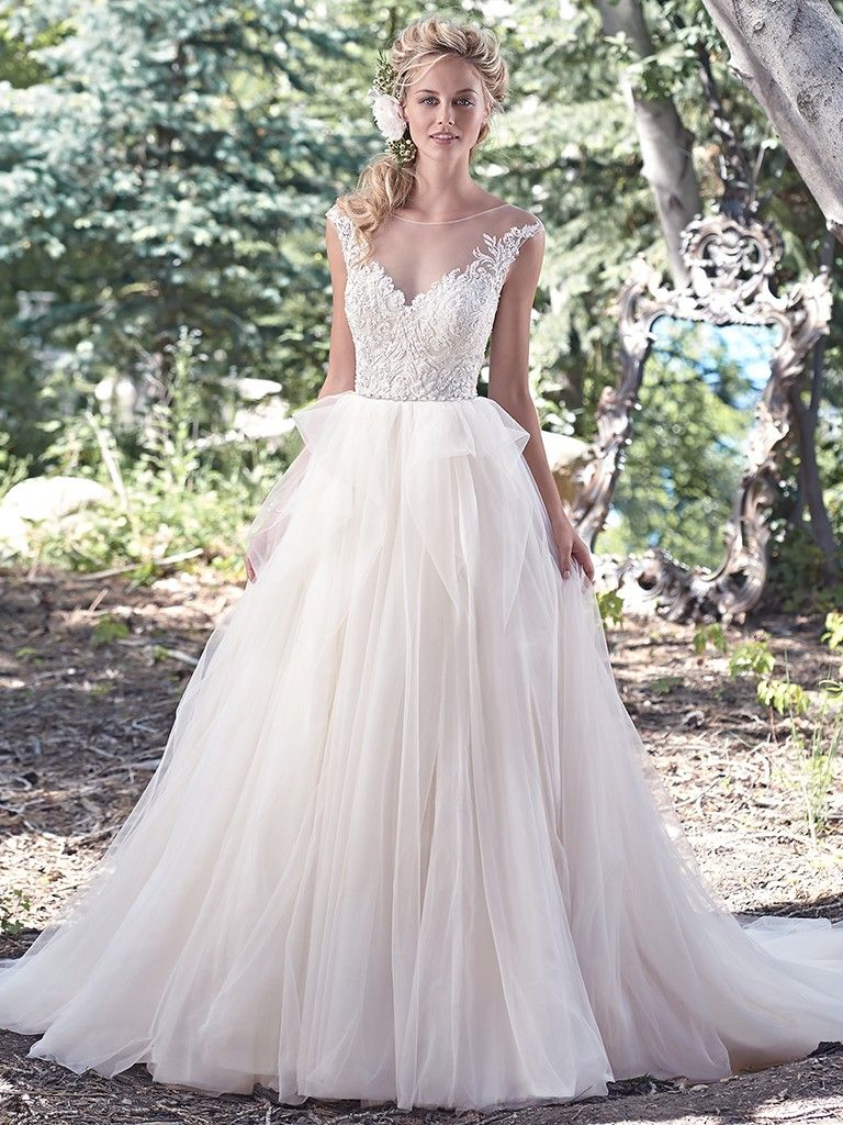 Maggie Sottero Raeleigh The Pinnacle Of Romance Is Found In This Ball Gown Wedding Dress A Stunning Lace Bodice Accented With
