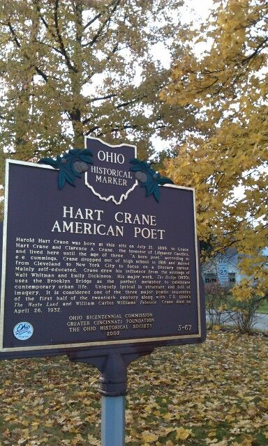 OHIO   l   Hart Crane was born in Garrettsville where a marker commemorates his achievements.