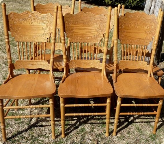 Twice Lovely Chair Back Headboard And Giveaway Oak Chair Chair Chair Backs